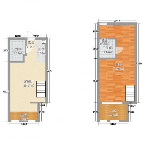 熙晨・空港国际1室2厅2卫0厨63.96㎡户型图