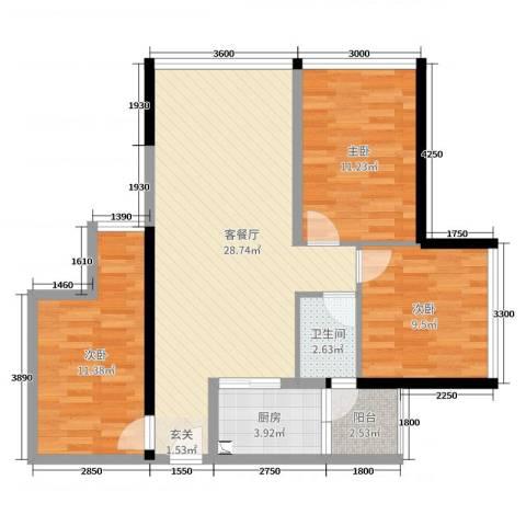 福星时代天骄3室2厅1卫1厨84.00㎡户型图