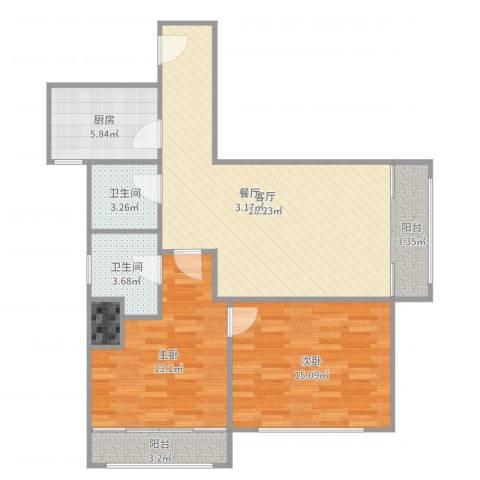 延平大厦-单栋-16032室1厅2卫1厨93.00㎡户型图