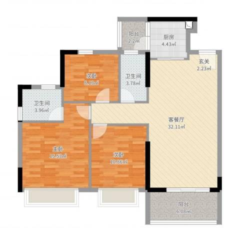 文华豪庭3室2厅2卫1厨109.00㎡户型图