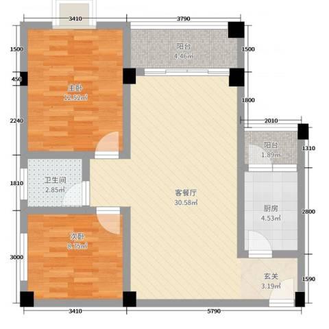 新都广场2室2厅1卫1厨81.00㎡户型图