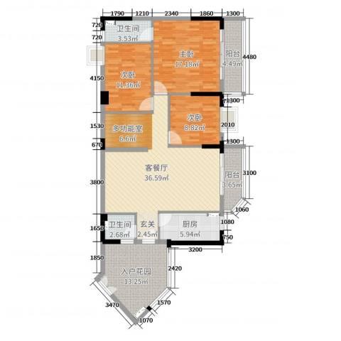 恒洲小苑3室2厅2卫1厨138.00㎡户型图