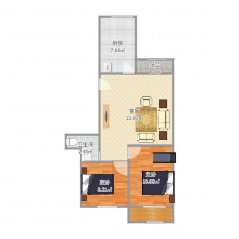 南华小区2室1厅2卫1厨70.00㎡户型图