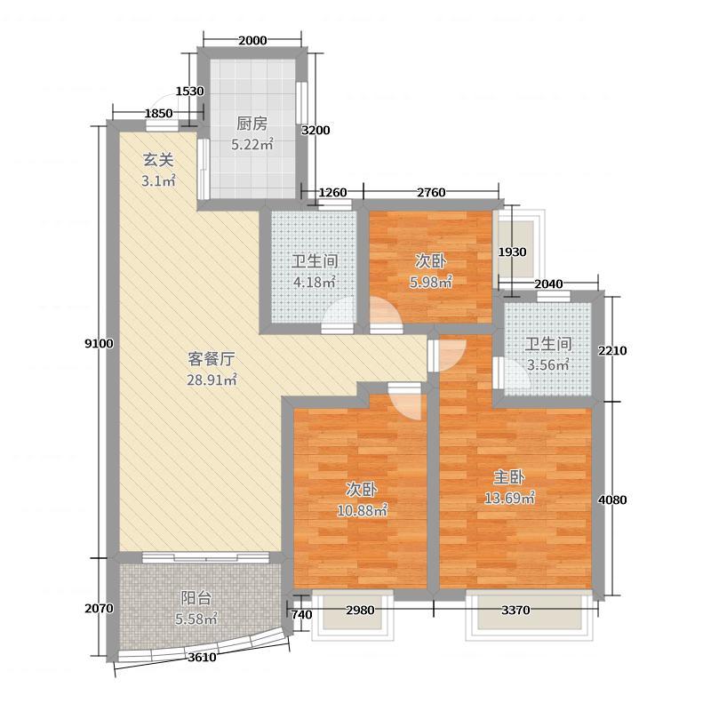 葛洲坝・保利曼城97.00㎡(建面)户型3室3厅2卫1厨