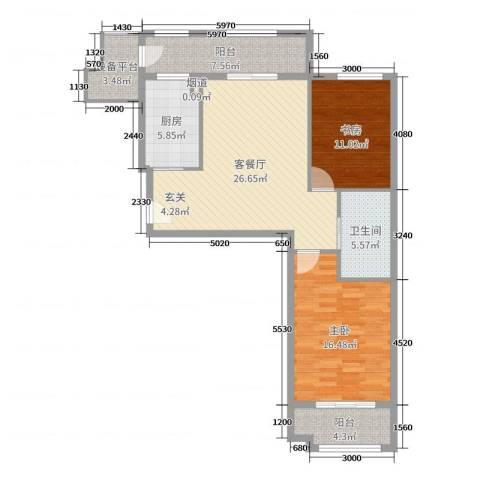 世嘉・正园2室2厅1卫1厨102.00㎡户型图