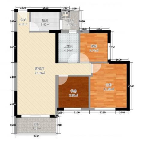 映翠豪庭3室2厅1卫1厨89.00㎡户型图