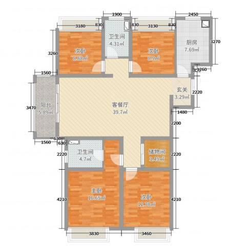 7星首府4室2厅2卫1厨141.00㎡户型图