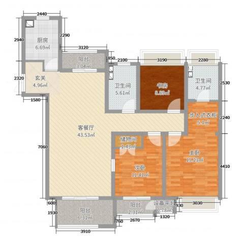 7星首府3室2厅2卫1厨142.00㎡户型图