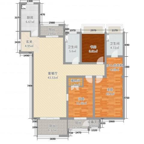 7星首府3室2厅2卫1厨143.00㎡户型图