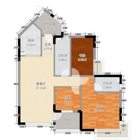 恒洲小苑3室2厅2卫1厨103.00㎡户型图