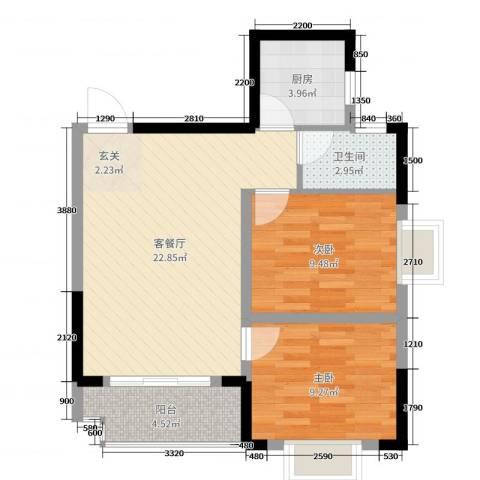 枫树园二期2室2厅1卫1厨74.00㎡户型图