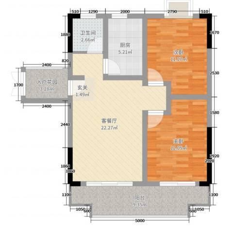 枫树园二期2室2厅1卫1厨88.00㎡户型图