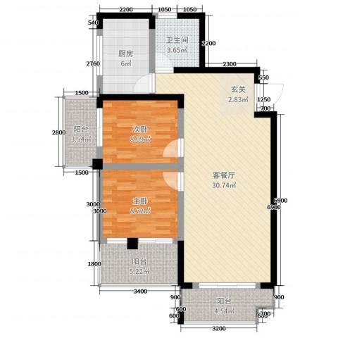 枫树园二期2室2厅1卫1厨94.00㎡户型图