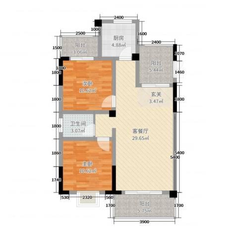 枫树园二期2室2厅1卫1厨96.00㎡户型图