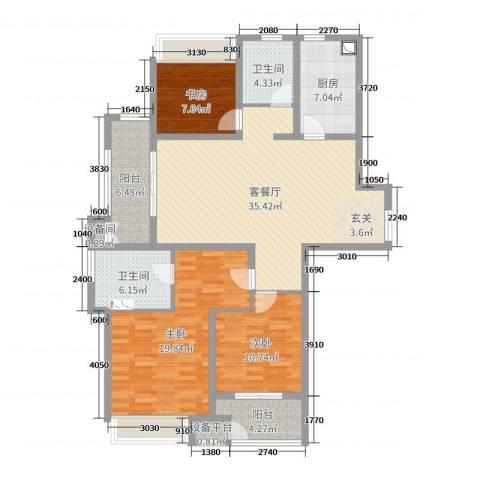 7星首府3室2厅2卫1厨129.00㎡户型图