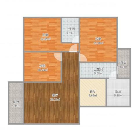 恒基花园3室2厅2卫1厨118.00㎡户型图