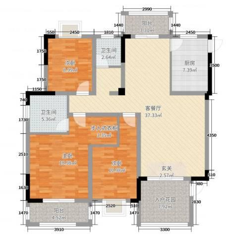 中鼎江岸花城3室2厅2卫1厨137.00㎡户型图