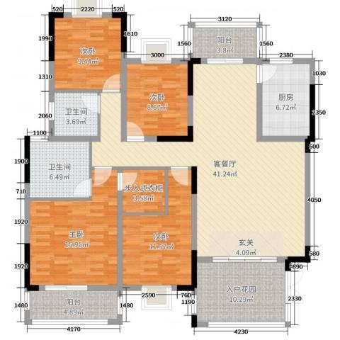 中鼎江岸花城4室2厅2卫1厨158.00㎡户型图