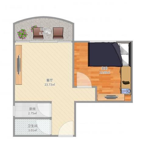 鸿翔大厦1室1厅1卫1厨65.00㎡户型图