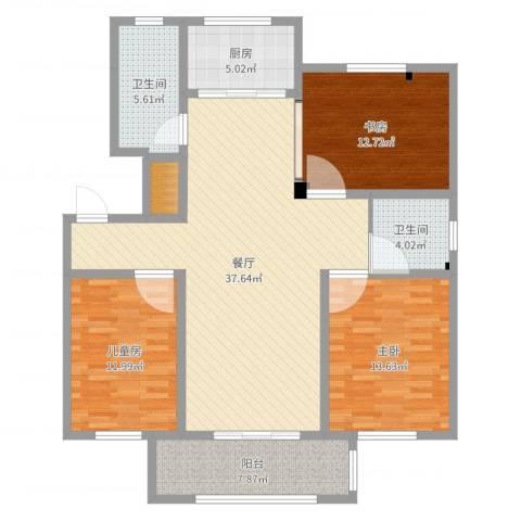 书香名府3室1厅2卫1厨124.00㎡户型图