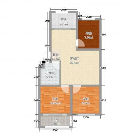 海阳海天景苑3室2厅1卫1厨85.00㎡户型图