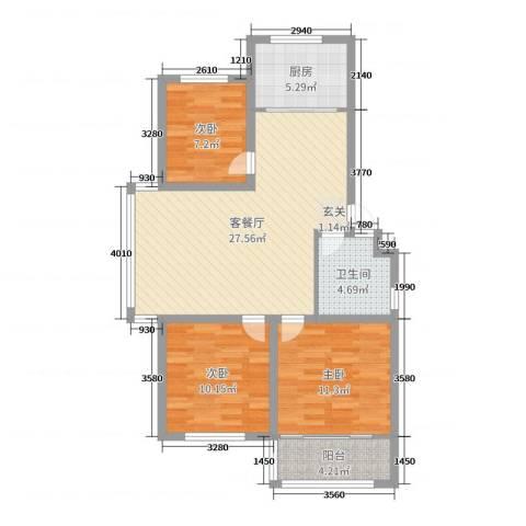 海阳海天景苑3室2厅1卫1厨88.00㎡户型图