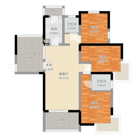 东方今典3室2厅2卫1厨115.00㎡户型图