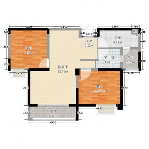 南山湖1号2室2厅1卫1厨100.00㎡户型图
