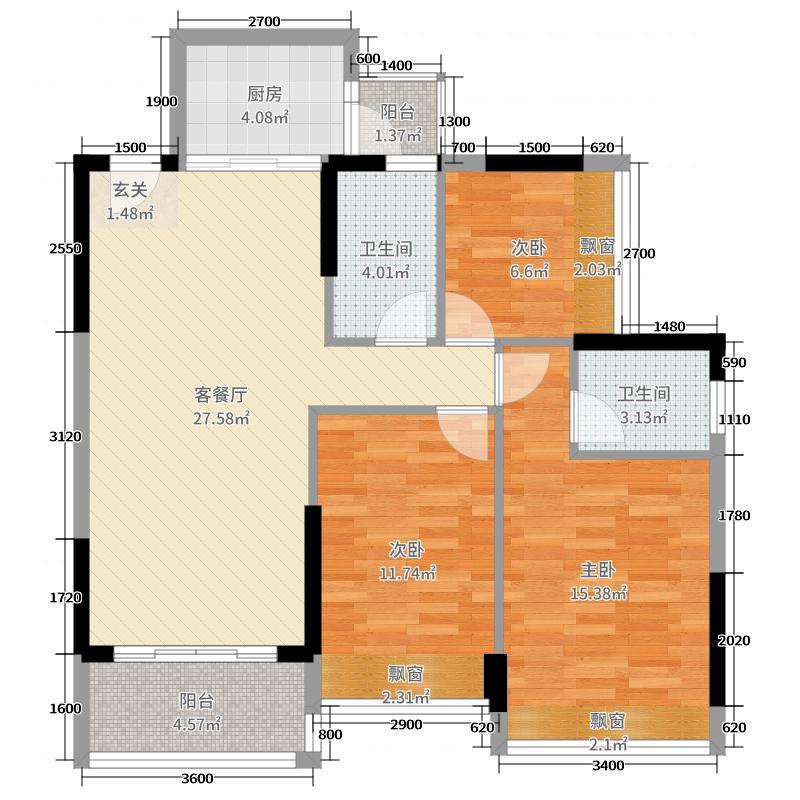 海港城93.00㎡04单位户型3室3厅2卫