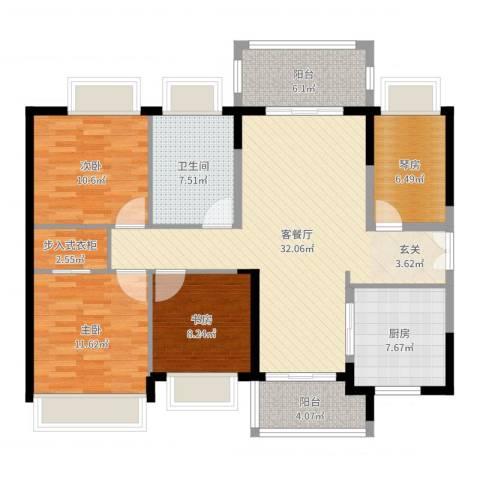 时代倾城3室2厅1卫1厨121.00㎡户型图
