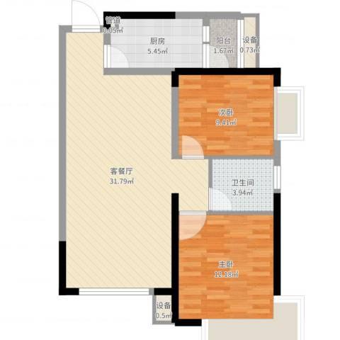 沈阳恒大绿洲2室2厅1卫1厨82.00㎡户型图