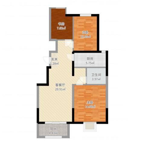 万科 朗润园3室2厅1卫1厨97.00㎡户型图