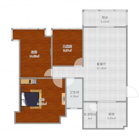 太原恒大名都3室2厅2卫1厨119.00㎡户型图