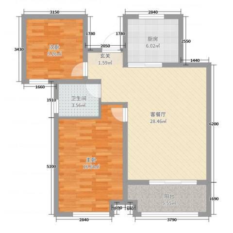 香榭里9号2室2厅1卫1厨87.00㎡户型图