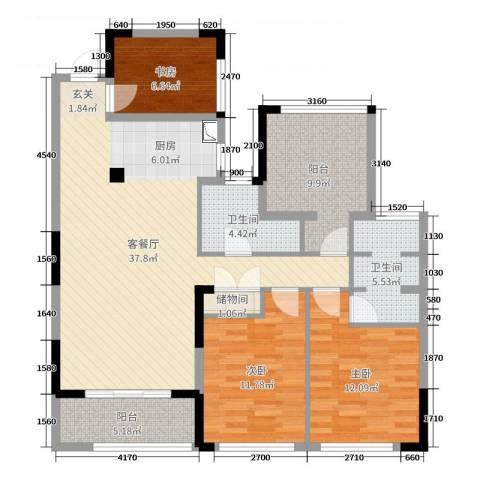 卓锦兰香3室2厅2卫0厨118.00㎡户型图