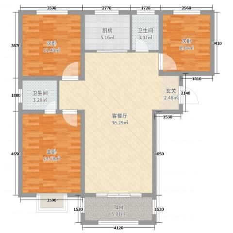 香榭里9号3室2厅2卫1厨110.00㎡户型图