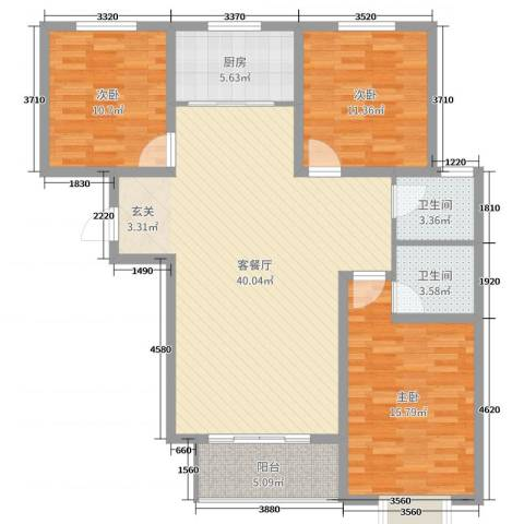 香榭里9号3室2厅2卫1厨119.00㎡户型图