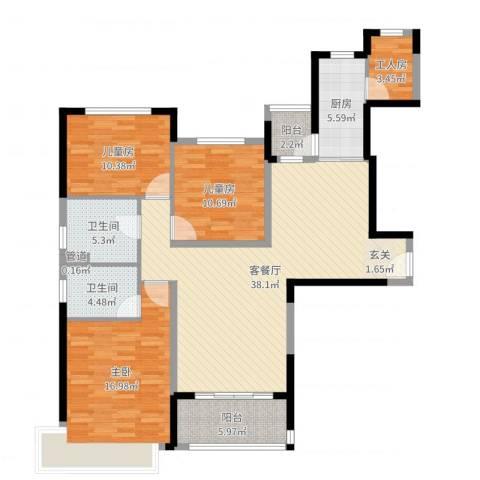 恒大绿洲3室2厅4卫1厨129.00㎡户型图