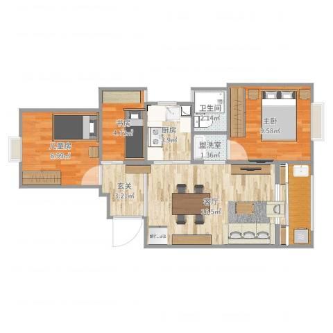 瑶溪凤凰城3室3厅1卫1厨67.00㎡户型图