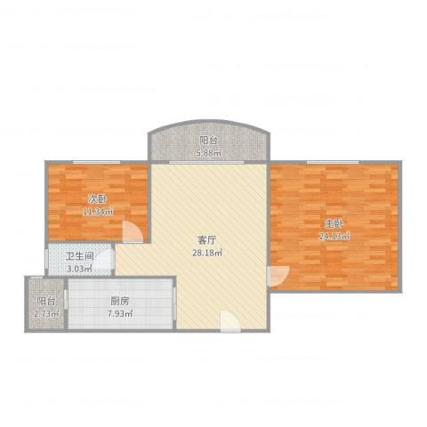 伯爵大地2室1厅1卫1厨104.00㎡户型图