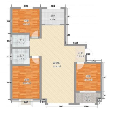 香榭里9号3室2厅2卫1厨123.00㎡户型图