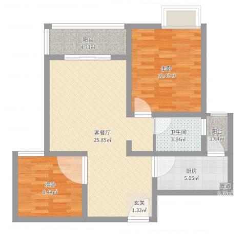 蓉湖壹号2室2厅1卫1厨76.00㎡户型图