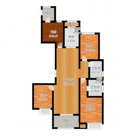 万科金域平江4室2厅2卫1厨135.00㎡户型图