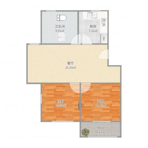 古美西路420弄小区2室1厅1卫1厨86.00㎡户型图