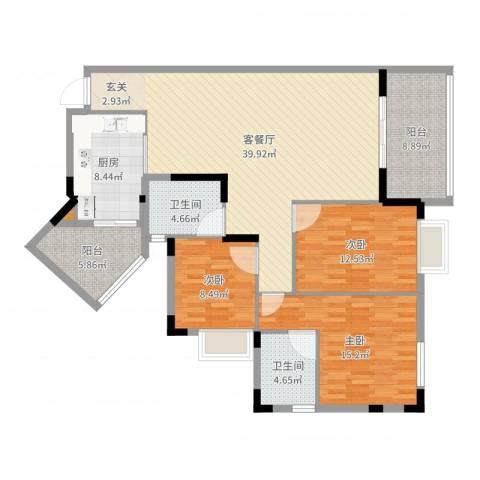 龙凤呈祥3室2厅2卫1厨136.00㎡户型图