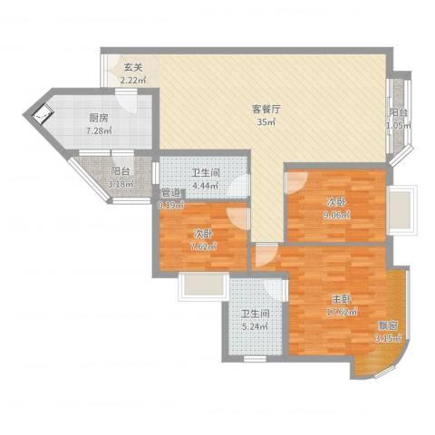 东逸花园3室2厅2卫1厨113.00㎡户型图