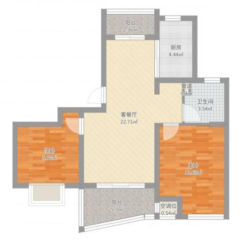荣域飘鹰锦和花园2室2厅1卫1厨75.00㎡户型图