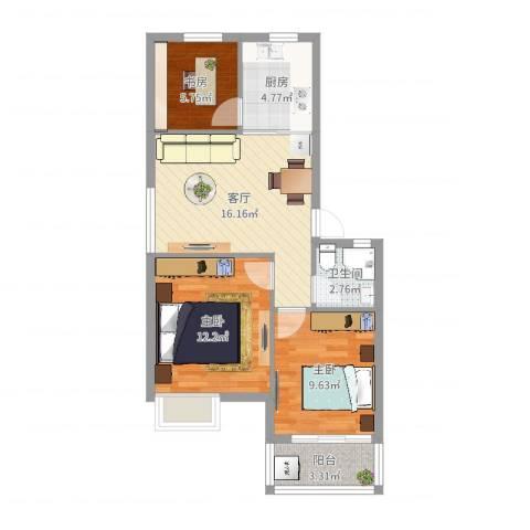 碧水和城3室1厅1卫1厨68.00㎡户型图