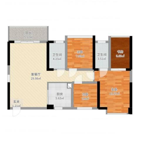 万丰新园4室2厅2卫1厨102.00㎡户型图
