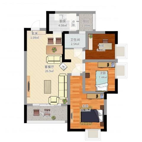 綦江金域蓝湾3室2厅1卫1厨83.00㎡户型图